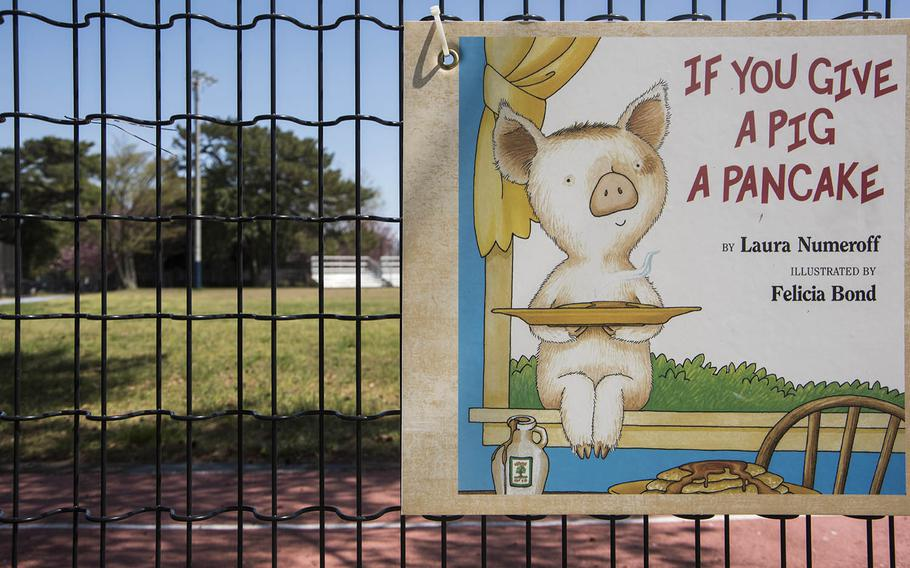 """""""If You Give a Pig a Pancake,"""" a book by Laura Numeroff, is featured in a story walk at Sagamihara Family Housing Area, Japan. April 17, 2020."""