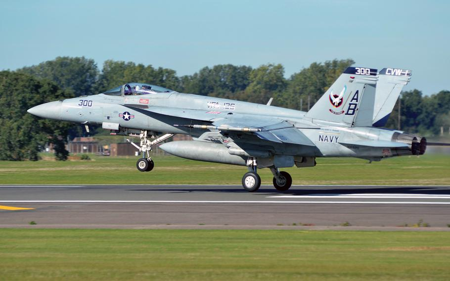 A U.S. Navy F/A-18 Super Hornet takes off from RAF Lakenheath, England, in 2018, during an exercise hosted by the base's 48th Fighter Wing. German Defense Minister Annegret Kramp-Karrenbauer said Wednesday that her country is in preliminary talks but hasn't yet committed to buying 45 F/A-18s to replace some of its aging Tornado fighter-bombers.