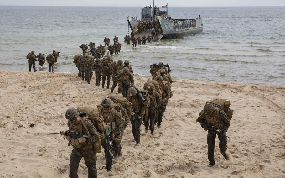 U.S. Marines disembark a landing craft during a tactics exercise in Sweden for Baltic Operations 2019. The U.S. again topped the list of military spenders by a wide margin, accounting for 38% of global military expenditures, a report released Sunday, April 26, 2020 by the Stockholm International Peace Research Institute shows.