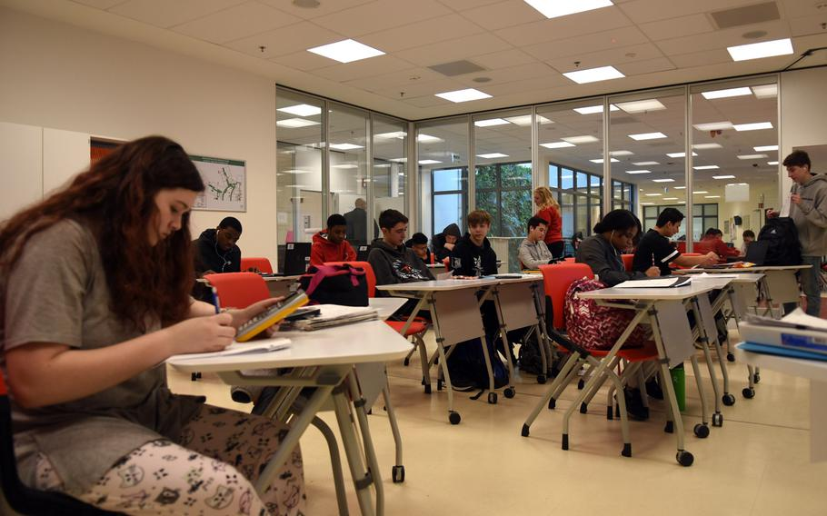 Students in class at Kaiserslautern High School in Germany, Feb. 22, 2019. Department of Defense Education Activity schools in Europe have been closed for more than a month due to the coronavirus pandemic. Officials are determining whether to reopen the schools or continue with digital learning for the rest of the school year.