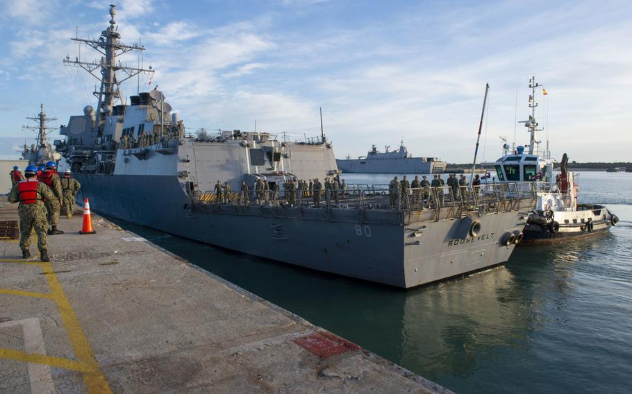 The destroyer USS Roosevelt arrives at Naval Station Rota, Spain, April 19, 2020. Several military projects in Europe are getting canceled or deferred to fund the southern U.S. border wall, including several at Rota.