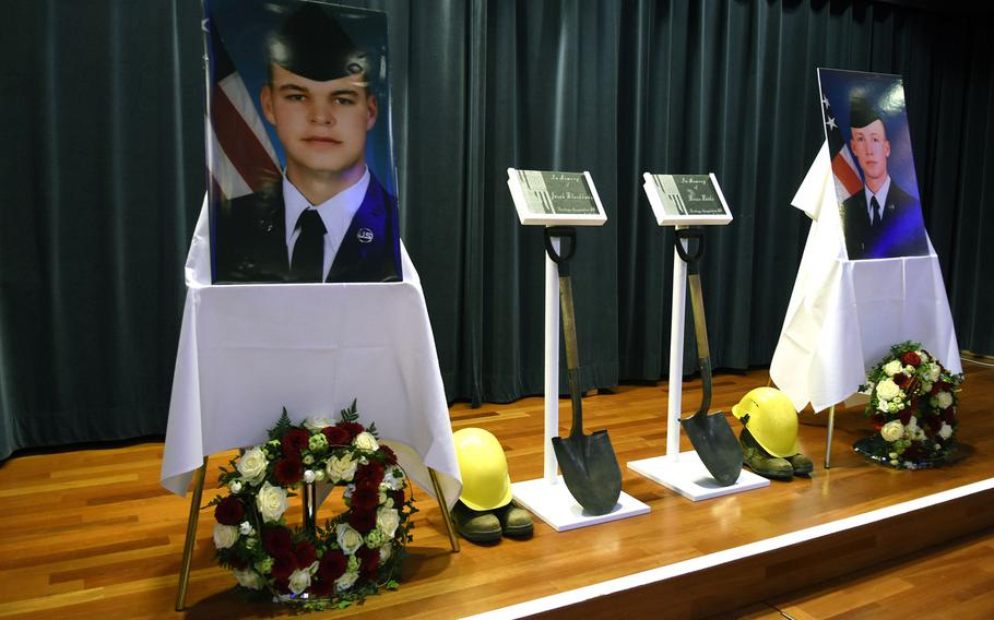 A memorial tribute to Airman 1st Class Jacob A. Blackburn, depicted in the photo at left, and Airman 1st Class Bradley Reese Haile is held at Spangdahlem Air Base, Germany, on Oct. 22, 2019. Speed appears to have been a factor in the crash that killed the two airmen last fall, base officials said in a statement on Wednesday, April 29, 2020, citing an accident investigation report.