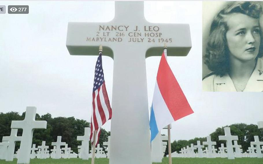 A screenshot shows an image of 2nd Lt. Nancy J. Leo and her grave marker during a Facebook Live stream of the U.S. Embassy in Luxembourg's Memorial Day service at the Luxembourg American Cemetery on Saturday, May 23, 2020. Leo is the only nurse and the only woman buried among the more than 5,000 American service members at the cemetery.