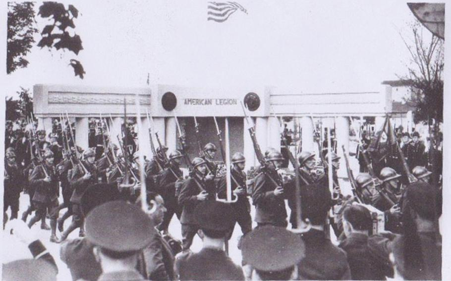 As an event at American Legion Paris Post 1's mausoleum, located in a cemetery in the city of Neuilly, near Paris, is seen in an undated photo. Completed in April 1939, it is the final resting place of some 300 American veterans and their family members.