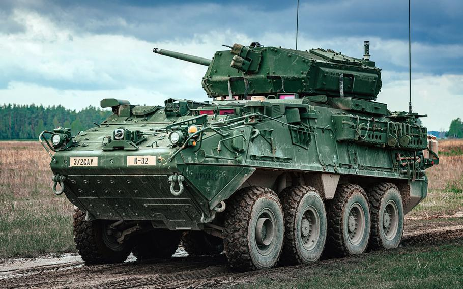 U.S. soldiers with the 2nd Cavalry Regiment maneuver in a Dragoon Stryker during a live-fire gunnery training event in Bemowo Piskie, Poland, May 13, 2020.