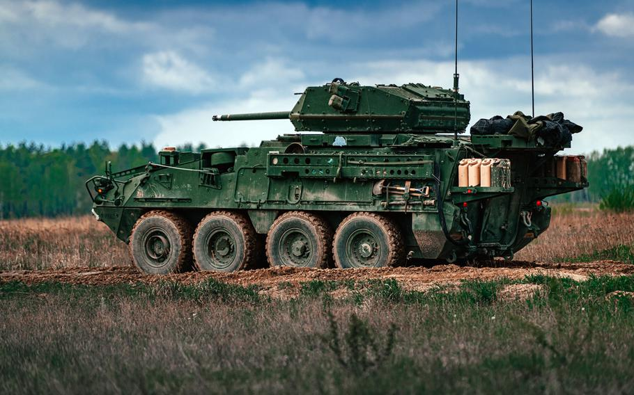U.S. soldiers assigned to the 2nd Cavalry Regiment maneuver in a Dragoon Stryker during a live-fire gunnery training event in Bemowo Piskie, Poland, May 13, 2020.
