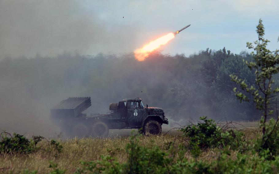 A Ukrainian BM-21 Grad Multiple Rocket Launcher fires a rocket during a training exercise with the Joint Multinational Training Group-Ukraine, in Yavoriv, Ukraine, June 30, 2017. The Pentagon has earmarked $250 million in aid for Ukraine, whose forces are battling Russian-backed separatists.