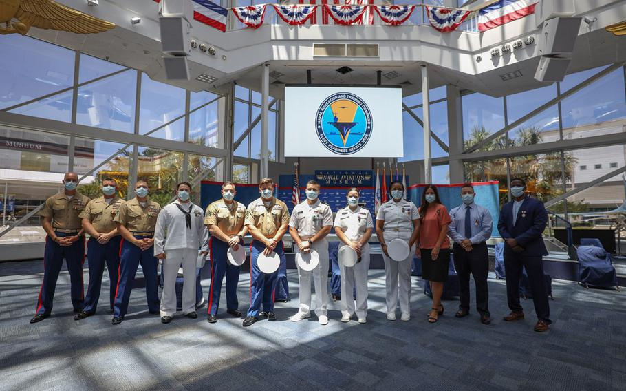 Twelve service members and federal employees were recognized during an awards ceremony, June 19, 2020, for heroic and selfless actions during the Dec. 6 shooting at Naval Air Station Pensacola, Fla.