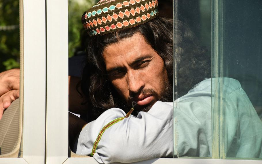 A recently freed Taliban prisoner waits to be transported from Bagram prison in May 2020. The Taliban have maintained close ties with al-Qaida despite striking a deal with the U.S. that would require them to disavow the group in exchange for a U.S. troop withdrawal, the Defense Department said.