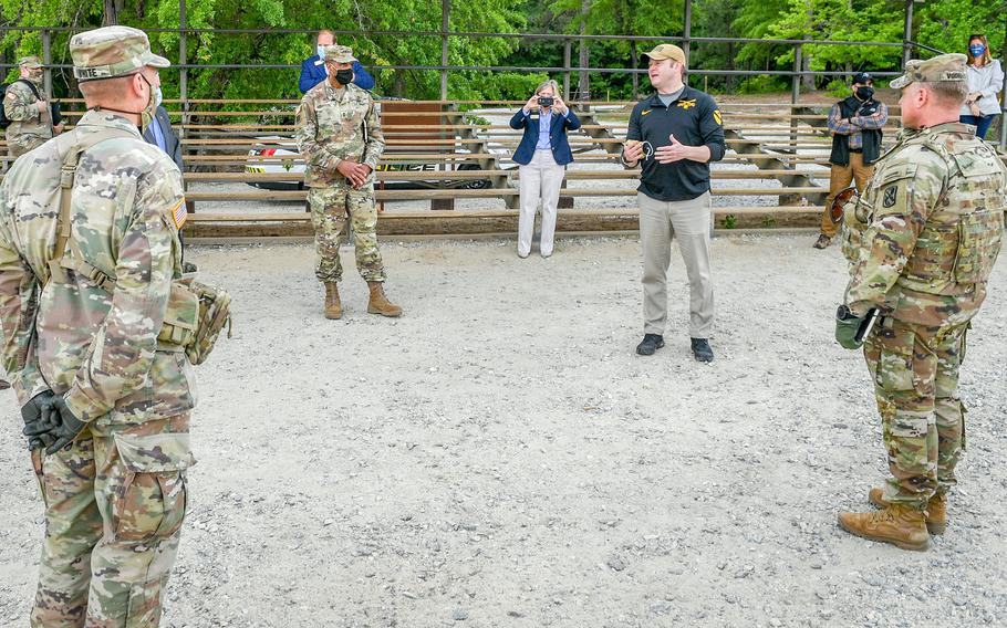 Army Secretary Ryan McCarthy, visits a range on Fort Benning, Ga., April. 29, 2020. McCarthy said during a July 15, 2020, call with reporters that details of a Pentagon plan to pull nearly 10,000 troops out of Germany will be disclosed in the coming weeks.