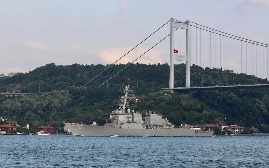 The destroyer USS Porter transits through the Bosporus in Turkey on July 19, 2020. The Porter is participating in Sea Breeze 20, an annual exercise in the Black Sea co-hosted by Ukraine and the United States.