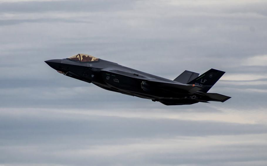An F-35A Lightning II takes off from Dover AFB, Del., Feb. 19, 2020. Eight F-35A jets originally destined for Turkey will now go to the U.S. Air Force, after Turkey was removed from the stealth fighter program over its purchase of a Russian anti-aircraft system.