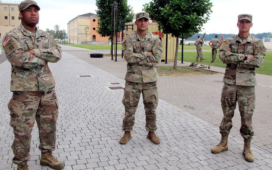Staff Sgt. Tyree Norwood, from left, 1st Lt. Teddy Medina and Spc. Christian Vergara, of U.S. Army Africa, will head to the annual Europe-wide Best Warrior competition of soldierly skill, knowledge and bearing, beginning Saturday at Hohenfels, Germany.