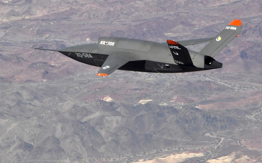 The XQ-58A Valkyrie demonstrator, a long-range, subsonic drone, conducts a 2019 flight.