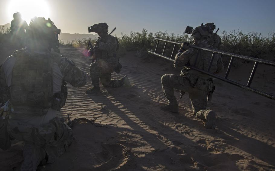 Airmen with the 21st Special Tactics Squadron prepare to infiltrate a compound during training at Fort Bliss, Texas in 2018. The squadron held a ceremony July 24, 2020, to watch the presentation of over 90 awards for the squadron???s most recent deployment in 2019.