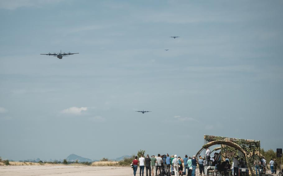 A U.S. C-130J Super Hercules aircraft assigned to the 37th Airlift Squadron and Bulgarian C-27J Spartan aircraft approach the drop zone during Thracian Summer 2020 at Cheshnegirovo landing zone, Bulgaria, Aug. 19, 2020. The aircraft dropped container delivery systems and Bulgarian air force parajumpers.