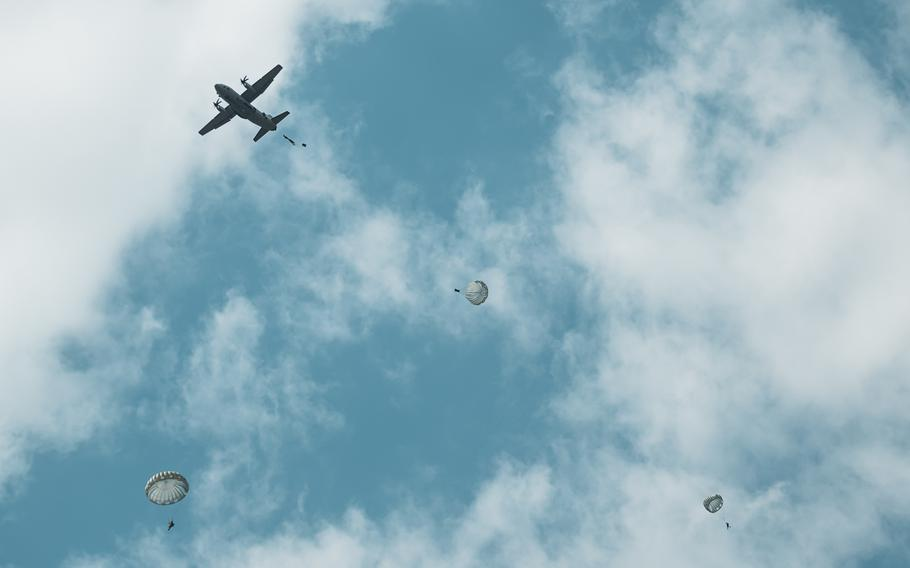 A Bulgarian C-27J Spartan aircraft transports and drops Bulgarian air force parajumpers during the Thracian Summer exercise at Cheshnegirovo landing zone, Bulgaria, Aug. 19, 2020.
