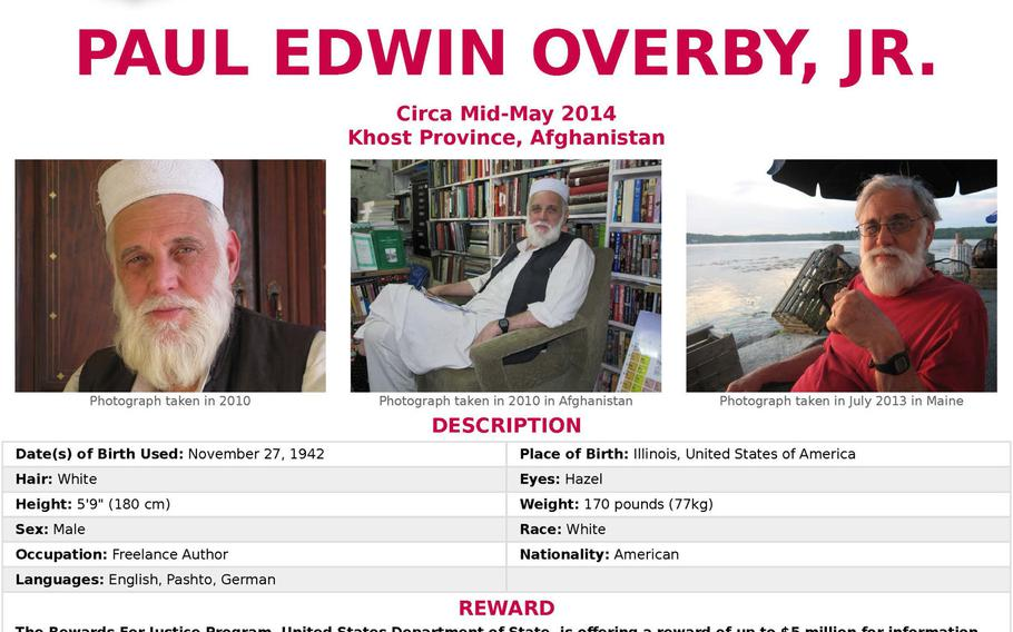 An FBI poster offering a reward for information about Paul Edwin Overby Jr., who was kidnapped in Afghanistan in 2014.