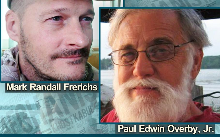 A Justice Department poster offering a reward for information on Mark Randall Frerichs and Paul Edwin Overby Jr. who were kidnapped in Afghanistan in 2020 and 2014.