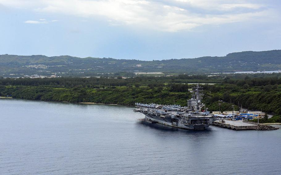 The aircraft carrier USS Ronald Reagan is pictured at Naval Base Guam, Aug. 24, 2020.