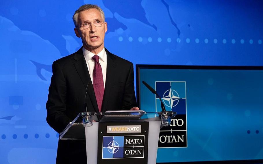 NATO Secretary General Jens Stoltenberg condemned the poisoning of Russian dissident Alexei Navalny, Friday, Sept. 4, 2020, and said there was no doubt that a military-grade nerve agent was used.