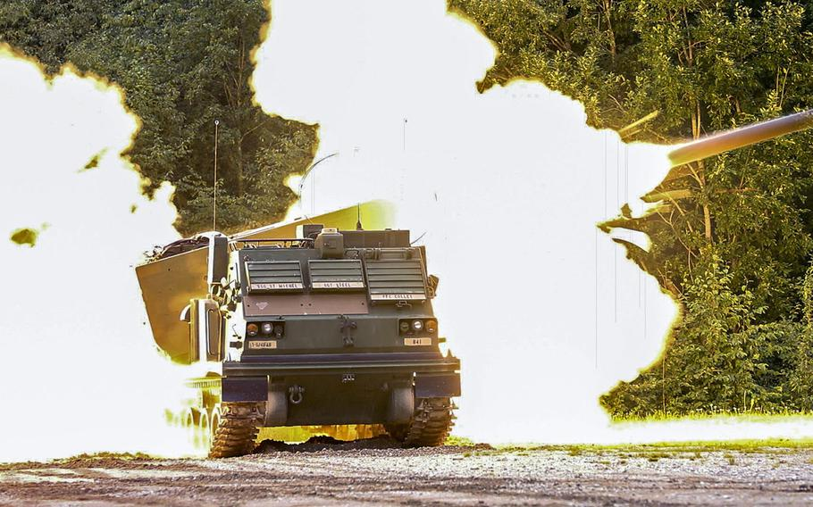 A U.S. Army Multiple Launch Rocket System fires off a  rocket during a live-fire exercise in Tapa, Estonia Sept. 5, 2020. The Rail Gunner Rush exercise took place about 70 miles from Estonia's border with Russia.