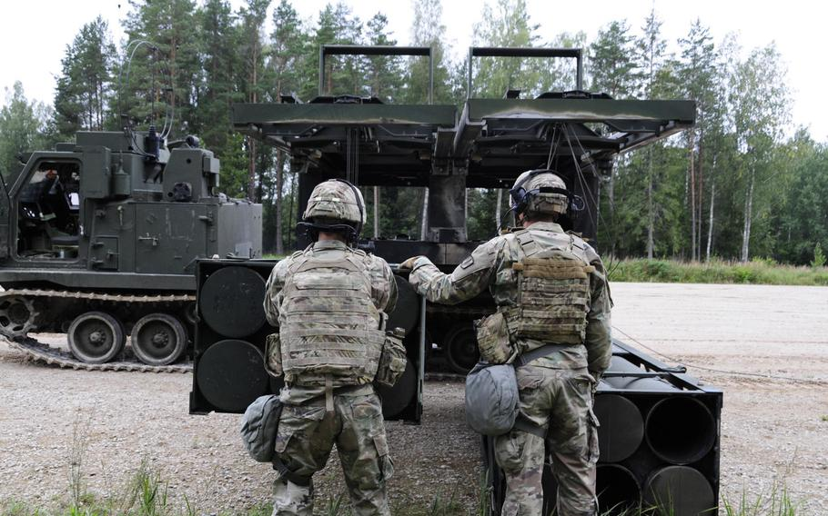 Soldiers assigned to Bravo Battery, 1st Battalion, 6th Field Artillery Regiment load training rounds into their multiple launch rockets system during a NATO live-fire exercise in Tapa, Estonia Sept. 5, 2020. The exercise, conducted just 70 miles from Estonia's border with Russia, has riled Moscow but reassured the Baltic states that the U.S. is committed to their security, Estonian Defense Minister Jueri Luik said.