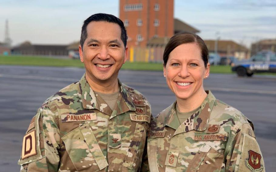Col. S. Troy Pananon and Chief Master Sgt. Kathi W. Glascock, 100th Air Refueling Wing commander and command chief at RAF Mildenhall, England, have posted a daily update video to Facebook every duty day since mid-March. The updates have helped them to build bonds with airmen and gained them a following, with viewers as far away as New Zealand.