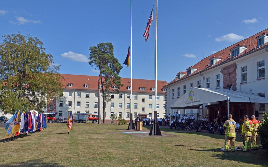 The 9/11  remembrance ceremony hosted by the 21st Theater Sustainment Command at Panzer Kaserne in Kaiserslautern, Germany, Sept. 11, 2020.