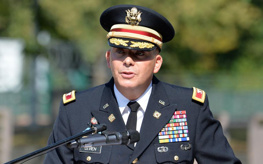 Col. Douglas Levien, 21st Theater Sustainment Command deputy commander, was the speaker at the  9/11  remembrance ceremony hosted by the 21st TSC in Kaiserslautern, Germany, Sept. 11, 2020.