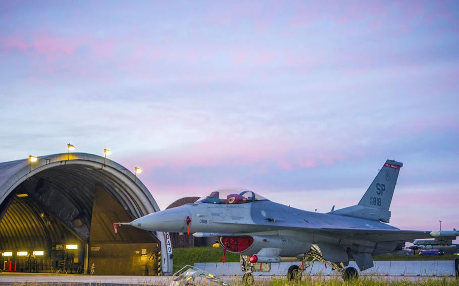 A U.S. Air Force F-16 Fighting Falcon, assigned to the 480th Fighter Squadron rests on the flight line at Spangdahlem Air Base, Germany, May 8, 2020. USAFE-AFAFRICA commander Gen. Jeffrey Harrigian said Monday, Sept. 14, 2020, that moving Spangdahlem's 480th Fighter Squadron from Germany to Aviano Air Base, Italy, could take some time.
