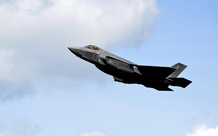 A U.S. Air Force F-35A Lightning II takes off from RAF Lakenheath, England, in April 2017, on the plane's first visit to the base. The 48th Fighter Wing is asking for help naming the new squadron of F-35As that will arrive at Lakenheath next year when the 495th Fighter Squadron is reactivated.