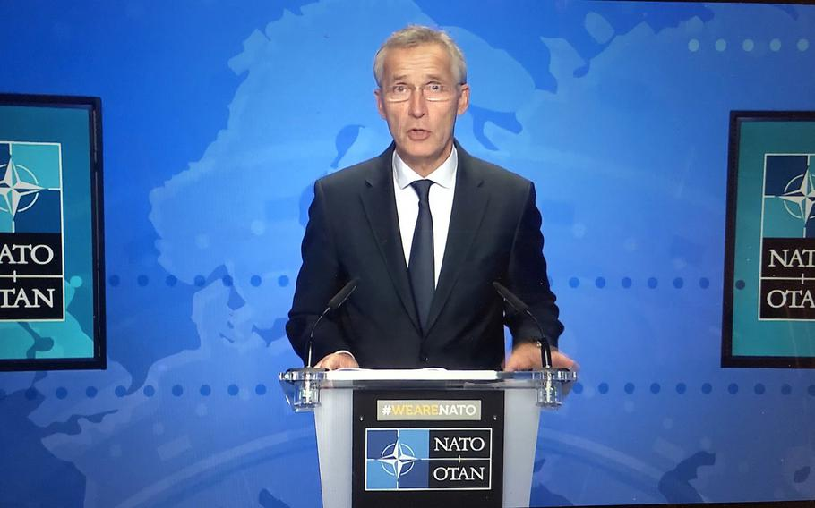 NATO Secretary-General Jens Stoltenberg talks about the challenge China poses at an online security conference hosted by the Center for European Policy Analysis think tank on Sept. 21, 2020.