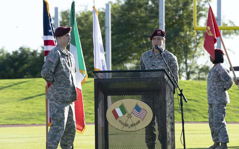 Tom Mercier, left, and Chloe Sevigny, in the first episode of the HBO series ''We Are Who We Are,'' a drama about life for military dependents and others on base at U.S. Army Garrison Italy in Vicenza.