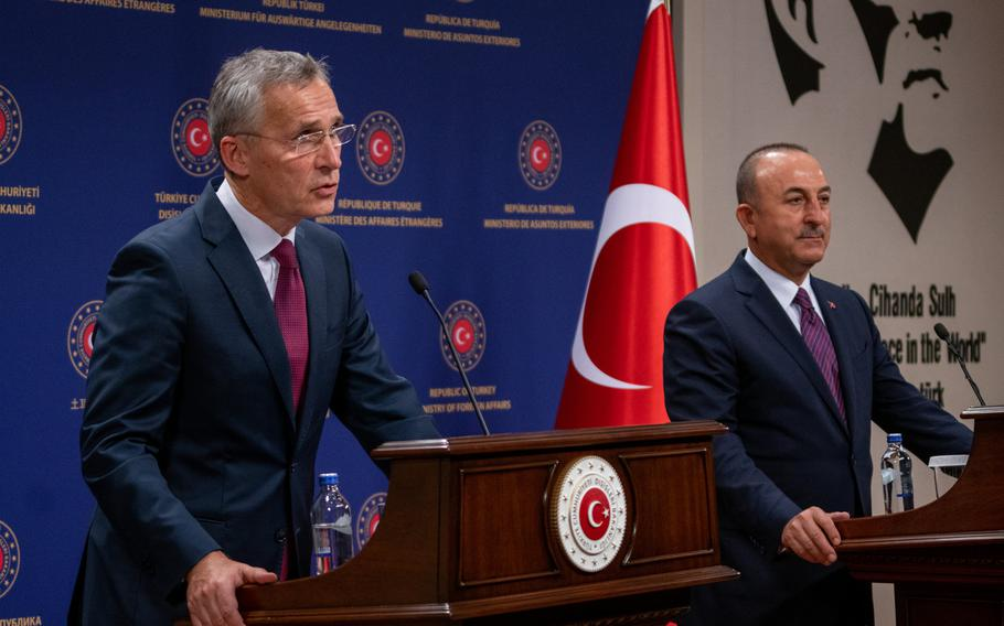 NATO Secretary-General Jens Stoltenberg and Turkish Foreign Minister Mevlut Cavusoglu address reporters at a press conference in Ankara, Turkey, Oct. 5, 2020, as Stoltenberg began a two-day visit to the key ally.