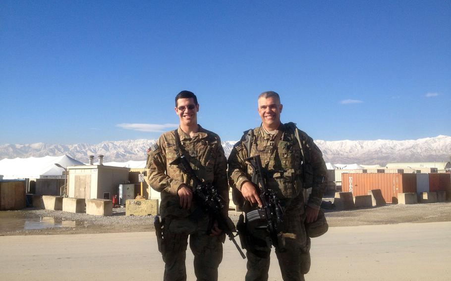 Sgt. Bajun Mavalwalla, left, and his father Capt. Bajun Mavalwalla, met in Afghanistan in 2012, when both were deployed to the country.