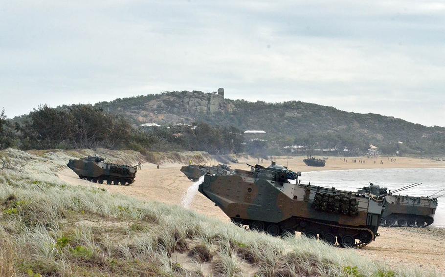Japanese amphibious assault vehicles land at Kings Beach, Australia, during the Talisman Sabre exercise, July 22, 2019.