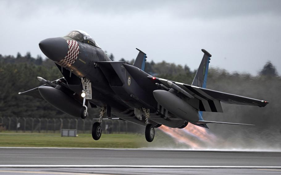 A U.S. Air Force F-15C Eagle, assigned to the 493rd Fighter Squadron, departs RAF Lakenheath, England, for Keflavik, Iceland, on Oct. 8, 2020. The U.S. Air Force this week took over the NATO air policing mission in Iceland, operating out of Keflavik.