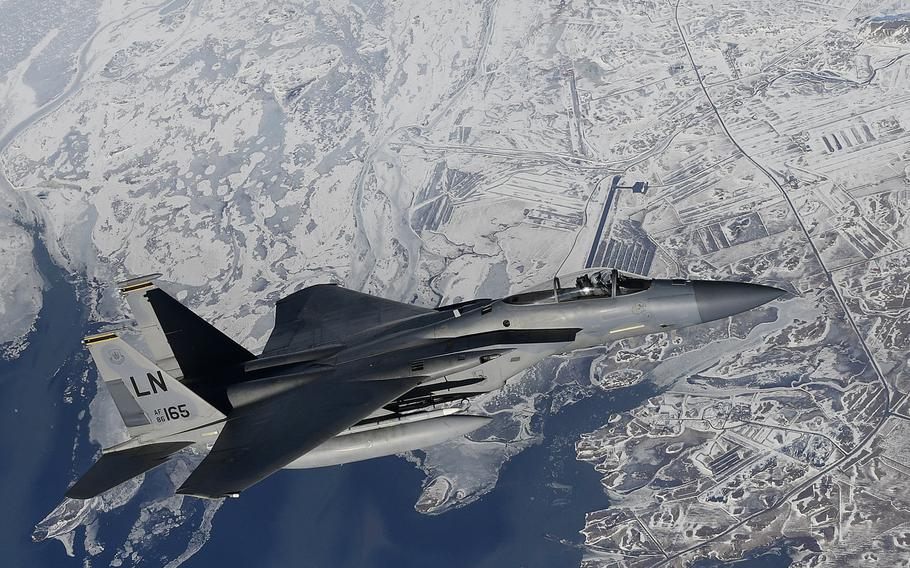 An F-15C Eagle assigned to the 48th Fighter Wing conducts aerial operations over Keflavik, Iceland, March 16, 2020. F-15s from the 493rd Expeditionary Fighter Squadron out of RAF Lakenheath in England on Monday, Oct. 13, 2020, assumed control of NATO's air policing mission at Keflavik Air Base, which has become increasingly important to the alliance as it counters an aggressive and expansionist Russia.