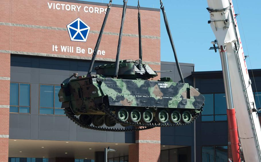 A Bradley Fighting Vehicle is set up in front of the V Corps headquarters at Fort Knox, Ky., Oct. 14, 2020.  V Corps officially activated Oct. 16, but it is still not clear when it will send troops to its forward headquarters in Poznan, Poland.