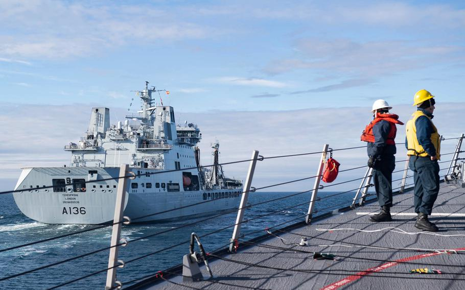 Sailors assigned to the guided-missile destroyer USS Ross  approach the British tanker RFA Tidespring for a replenishment-at-sea in the Barents Sea, Sept. 9, 2020. The ship has returned to the Arctic, marking the third time this year that U.S. Navy destroyers have operated in the Barents Sea.