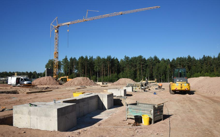 The construction site for the future Training Support Center Grafenwoehr building, at Grafenwoehr Training Area, Germany, Aug. 6, 2020. The Army is planning a $190 million expansion at the training ground, which U.S. troops based in Germany and other parts of Europe visit for major combat drills.