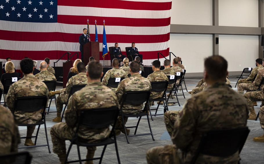 Lt. Col. Nicholas Morgans, commander of the 38th Rescue Squadron, speaks to attendees during a ceremony at Moody Air Force Base, Ga., on Oct. 29, 2020. During the ceremony, Staff Sgt. Nicholas Brunetto, a pararescueman with the squadron, received a Silver Star Medal for his actions in Afghanistan.