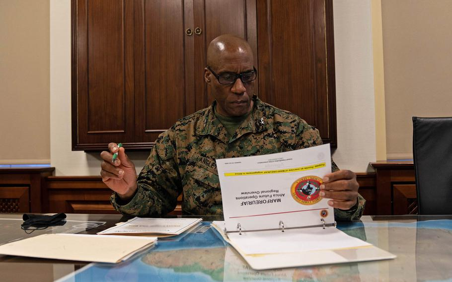 Maj. Gen. Michael E. Langley assumed command of U.S. Marine Corps Forces Europe and Africa at U.S. Army Garrison Panzer Kaserne, near Stuttgart, Germany, Nov. 3, 2020.