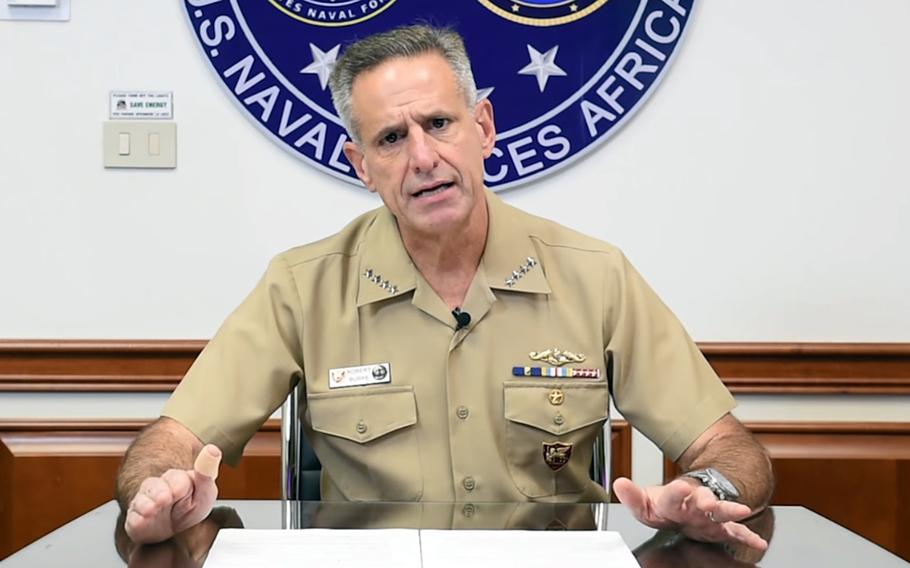 Adm. Robert Burke, commander of Naval Forces Europe and Africa, talks about closing schools in Naples and Sigonella, Italy, beginning Friday, in a video posted on Facebook, Nov. 5, 2020.