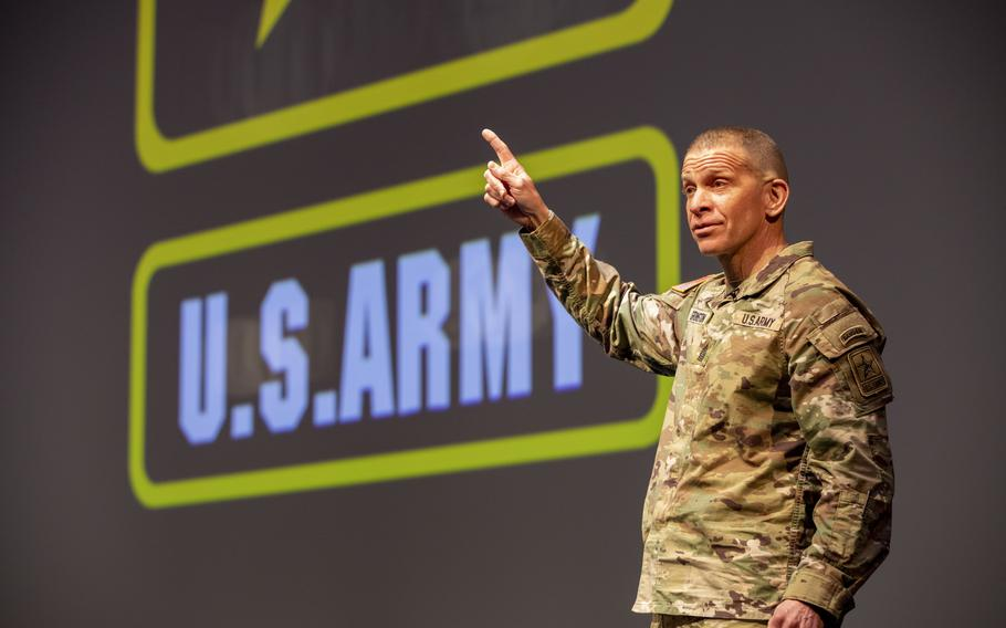 Sergeant Major of the Army Michael A. Grinston gives opening remarks in the U.S. Army People First Take Force Solarium at West Point, N.Y., March 15, 2021.