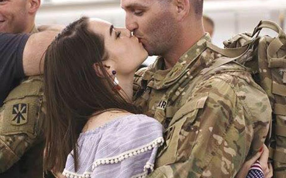 Army spouse Alexa Sheeder, shown here with her husband Drew Sheeder in this photo from social media, died 13 days after giving birth to her son from complications of COVID-19.