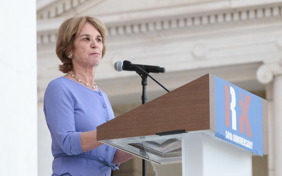 Kathleen Kennedy Townsend, daughter of Robert F. Kennedy, speaks Wednesday, June 6, 2018, at Arlington National Cemetery during a ceremony honoring her father on the 50th anniversary of his death.