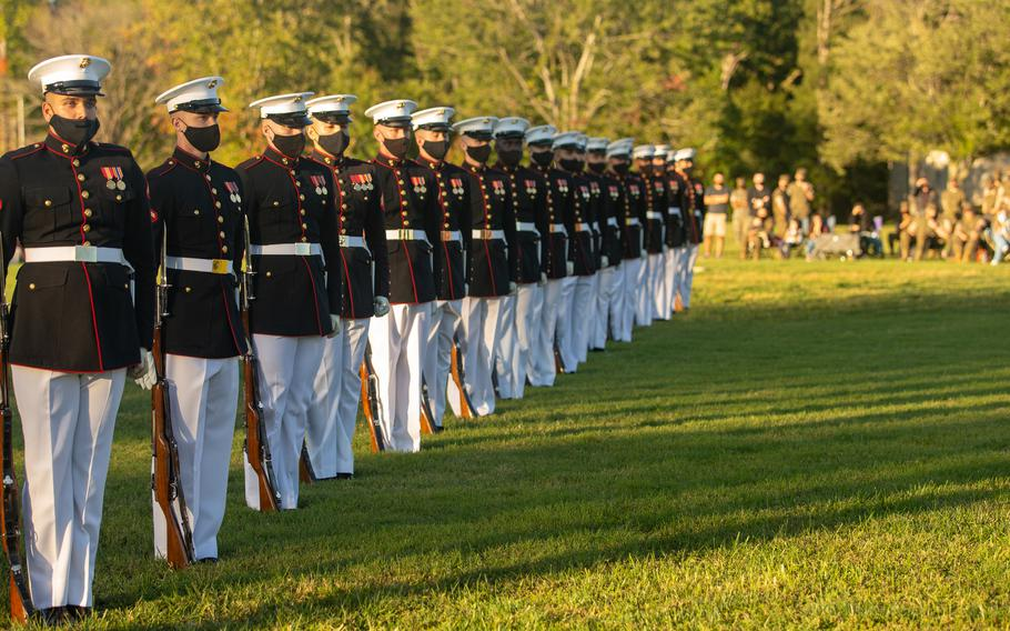 U.S. Marines from the Marine Corps Silent Drill Platoon perform at The Basic School on Marine Corps Base Quantico, Va., Oct. 2, 2020.