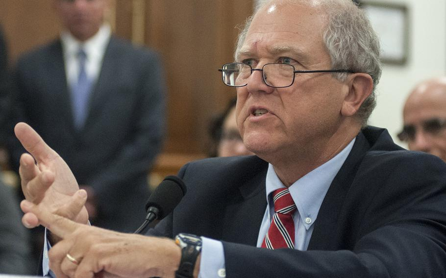 Special Inspector General for Afghanistan Reconstruction John Sopko testifies before the oversight and investigations subcommittee of the House Committee on Armed Services on Capitol Hill in Washington, D.C., on Tuesday, July 25, 2017.